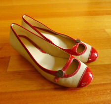 Women's Cole Haan Tan Canvas and Red Patent Leather Wedge Kitten Heels Size 6.5