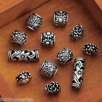 L/P 12 Mix European Charms Gravur BlumenSpacer Beads Perlen DIY