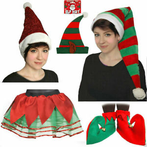 LADIES MEN CHRISTMAS HATS ELF HAT CAP SHOES COVER TUTU LUREX RED GREEN ACCESSORY