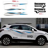 Auto SUV Sport Racing Streifen Seitentür Panel Vinyl Aufkleber Schwarz + Blau