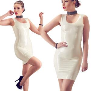 "Damen Latex Mini-Kleid M L XL 2XL Sexy Rubber Fetisch Bondage weiß ""Nuala"""