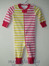 HANNA ANDERSSON Baby Organic Zip Sleeper Pink Yellow Mix Stripe 60 6-9 month NWT