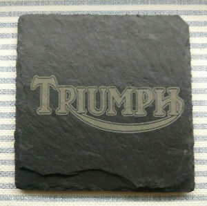 Premium Natural Slate Triumph Motorcycle Vintage Logo Coaster Gift Set tiger cub