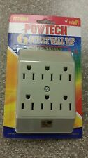6 outlet 3 prong grounded electric wall tap power adaptor 15A  -2 to 6 converter