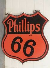 "SUPER CLEAN! ORIGINAL RING DOUBLE SIDED 48"" PHILLIPS 66 OIL GAS PORCELAIN SIGN"