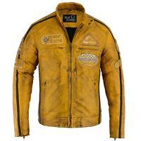 Herren Motorrad Lederjacke Biker Jacke Motorradjacke Cafe Racer Mode Jacke Neu