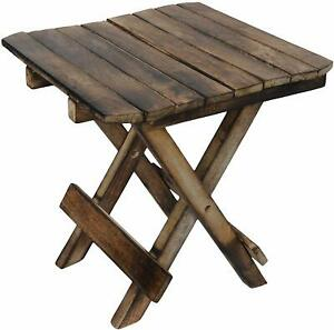 Wooden Handicraft Folding Stool For Living Room As Side Table Brown Color
