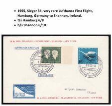 1955 Germany First Flight Cover Hamburg to Shannon Ireland Sieger 34 Lufthansa