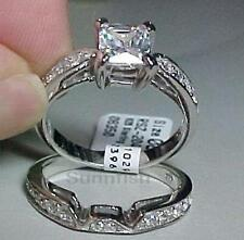 STERLING SILVER 925 PRINCESS ENGAGEMENT WEDDING TWO RING SET SIZE 7