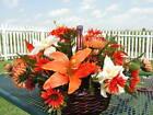 Orange Lily Silk Flower Arrangement Wicker Basket Spectacular Custom Designs