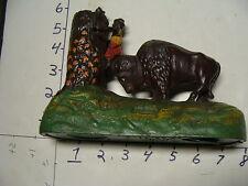 Cast Iron Mechanical Coin Bank Bucking Buffalo W/ BLACK MAN CLIMBING TREE bok