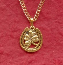 Horseshoe Necklace Gold Plated  New Luck 4 lucky four leaf clover jewelry