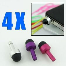 4X Matted Dust Plug Earphone Jack Cover + Mini Touch Pen Stylus Samsung Phones