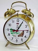 réveil mécanique motif poule métal doré horloge cadeau manuel cadran 10 cm
