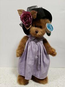 "VTG Bearington Bears Sophie Purple Dress  1306 w Tags 14"" Retired Bear w stand"