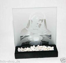 Wunderschön Teelichthalter aus Glas und Stein Maria Mutter Jesu Gebet Kreuz M2