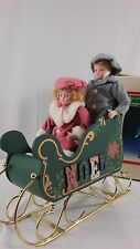 Christmas Around World Porcelain kids Wooden Sleigh Vintage
