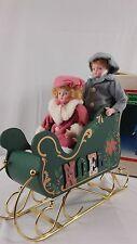 Christmas Around World Porcelain kids Wooden Sleigh Vintage