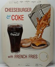 Vtg Coca Cola Advertising Diner Counter Sign Cheeseburger & Coke w/fries 17x13