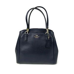 Coach Blue Leather Bag Minetta Navy Handbag Purse Authentic F34663 No Crossbody