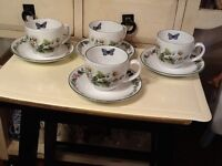 4 ROYAL WORCESTER ENGLAND WORCESTER HERBS CUP SAUCER WILD THYME FEVERFEW