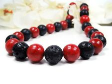 Beautiful Necklace in Coral with lava-stones in Ball Shape ø-14 mm