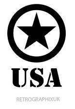 US American Army Star Military Sticker WW11 USA STENCIL 180mm H Decal