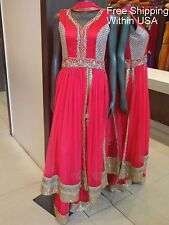 Coral Anarkali Bollywood Indian Designer Partywear Dress and Palazzo- Ships Free