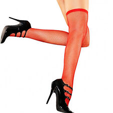 SEXY CALZE AUTOREGGENTI RETE ROSSE RED FISHNET STOCKINGS HUSTLER LINGERIE OS