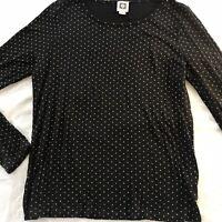 Anne Klein Soft  Black Stretch Knit Top L/S With Tiny Brass Studs SZ Medium EUC
