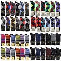 6-12 Pair New Cotton Men Argyle Diamond Style Dress Socks Size 10-13 Multi Color