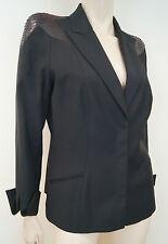 THIERRY MUGLER COUTURE Vintage Wool Blend Python Leather Trim Blazer Jacket Sz42