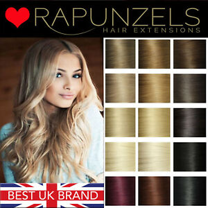 Clip in full head hair extensions real RAPUNZELS remy human hair - ALL COLOURS