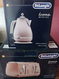 Delonghi Icona Metallics 4 Slice Toaster - CTOT4003.BG and kettle Set