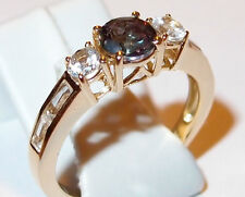 Mystic/White Topaz 14K gold overlay Sterling Silver ring, 1.75ct, Size S.