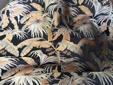 GOLD GREEN TERRACOTTA  BRONZE TROPICAL LEAF SATIN TAPESTRY UPHOLSTERY FABRIC