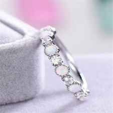Holiday Gift High Quality White Fire Opal Gemstone Platinum Plated Ring Sz 6-10