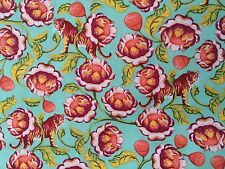 By 1/2 Yard ~ Free Spirit Eden Tula Pink Fabric ~ Lotus Tomato ~ tigers floral