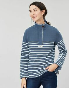 Joules Womens Saunton Saltwash Classic Sweatshirt - Blue Cream Stripe - 6