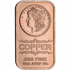 "1 OZ SOLID COPPER BULLION ART-BAR: "" MORGAN SILVER DOLLAR """