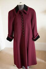 Wool Long Coat Burgundy with Velvet Collar Women's Size M Mario De Pinto USA