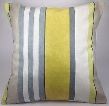 "Prestigious Bowden Mimosa Stripe Grey Olive Green Chalk White 16"" Cushion Cover"