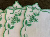 6 Vintage Cocktail Napkins MADEIRA Embroidered Green Flowers St. Patrick's Day