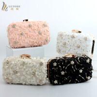 Brand Evening Party Handbag Clutch Wallet Shoulder Bag Prom Flower purse Cotton