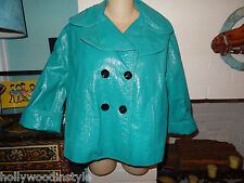 NWT $1,755 DOLCE & GABBANA D&G TURQUOISE GENUINE PATENT LEATHER JACKET
