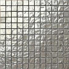Silver Textured Glass Mosaic Wall Tiles Bathroom Shower Kitchen Basin MT0127