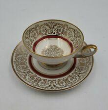 Vintage Demi-tasse Bavaria Tirschenreuth Germany Tea Cup & Saucer Pink & Gold v3