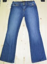 Baby Phat Jeans Gold Graphic Embellished Cat Faded Medium Wash Sz 11