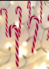 Gisela Graham Christmas Pack Of 12 Mini Acrylic Candy Cane Tree Decorations