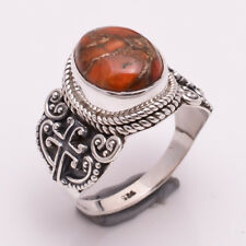925 Sterling Silver Ring Size US 8, Orange Copper Turquoise Women Jewelry CR1804